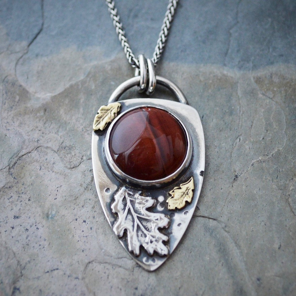 Oak Leaf Necklace with Red Tiger Eye Gemstone, Botanical Jewelry - Gayle Dowell