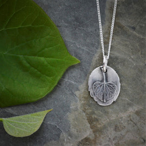 Redbud Leaf Pendant Necklace, Tree Jewelry in Fine Silver - Gayle Dowell