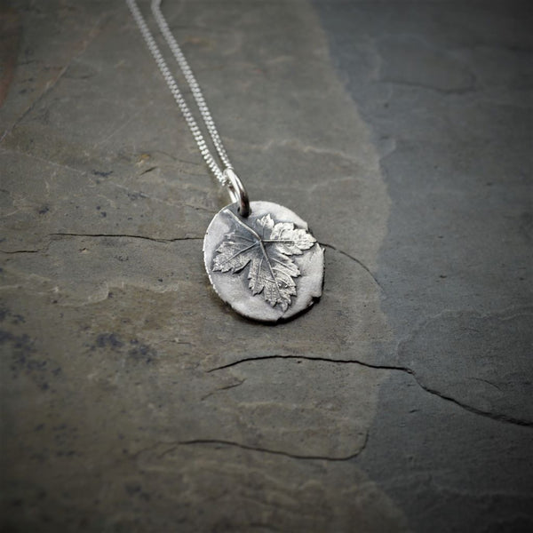 Rocky Mountain Maple Leaf Necklace in Fine Silver - Gayle Dowell