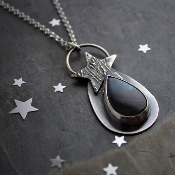 Star Dust Necklace, Sterling Silver and Labradorite Gemstone Pendant - Gayle Dowell