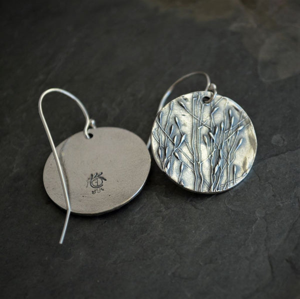 Statement Earrings, Fine Silver, Prairie Ticklegrass - Gayle Dowell