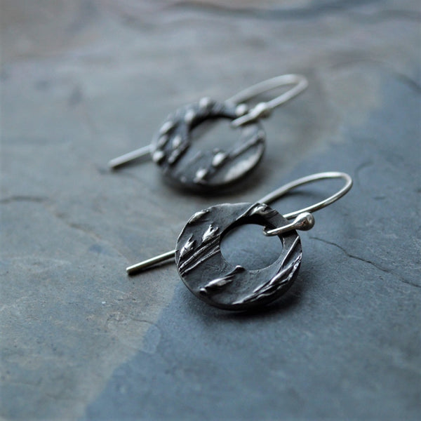 Hoop Earrings in Sterling Silver Textured with Prairie Switchgrass - Gayle Dowell