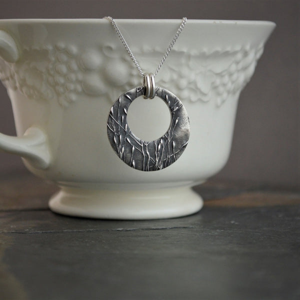 Fine Silver Hoop Necklace, Ticklegrass, Off Center Circle Pendant - Gayle Dowell