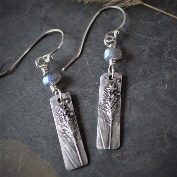 Foxtail Earrings, Fine Silver and Labradorite Gemstone
