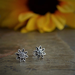 Sunflower Stud Earrings, Wildflower Jewelry in Fine and Sterling Silver - Gayle Dowell