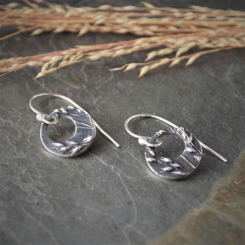 Hoop Earrings in Fine Silver Textured with Prairie Switchgrass - Gayle Dowell