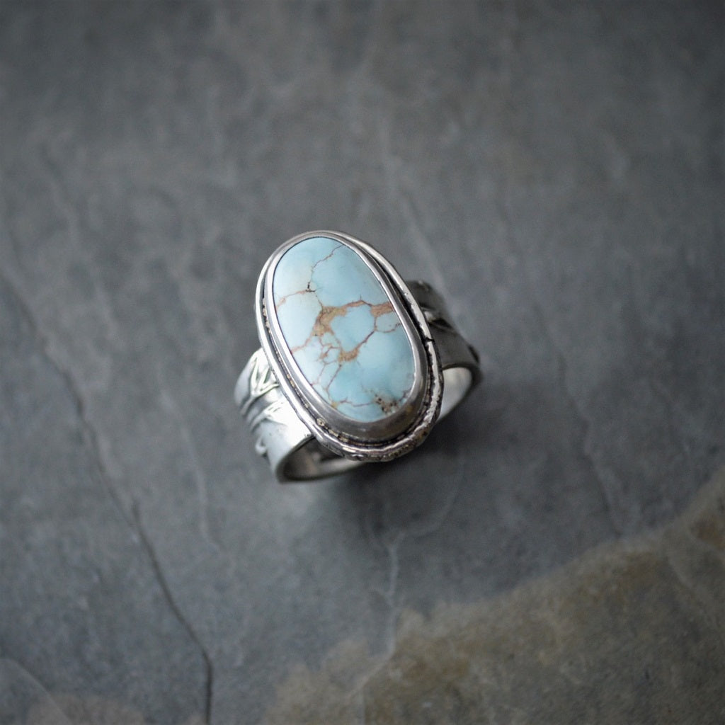 Gobi Desert Turquoise and Sterling Silver Ring, Prairie Grass Textured Band - Gayle Dowell