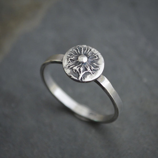 Stacking Ring, Aster Flower in Sterling Silver, Size 7