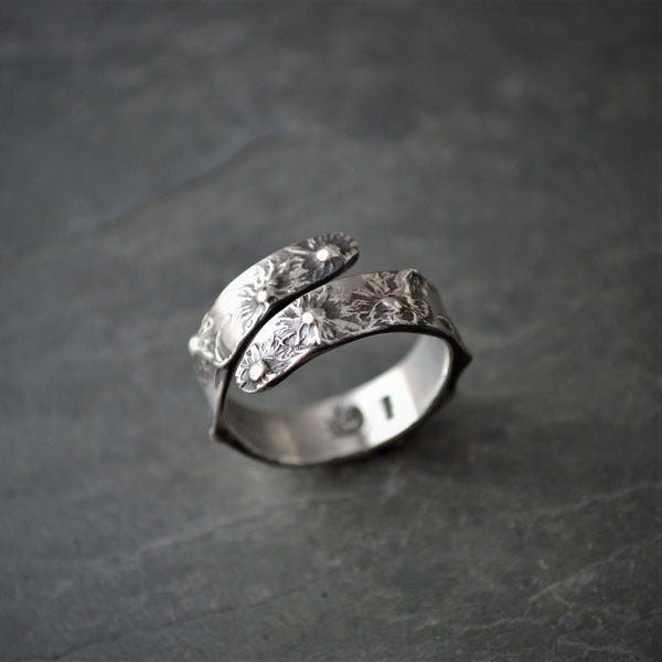 Aster Wrap Ring, Botanical Jewelry in Sterling Silver