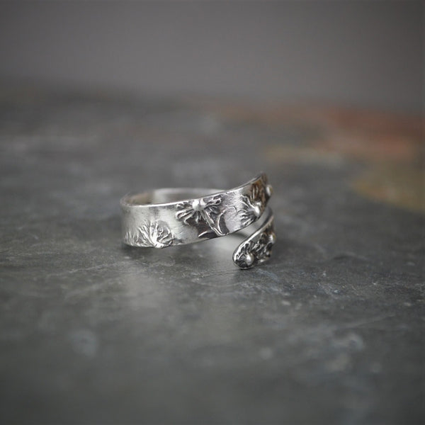 Aster Wrap Ring, Botanical Jewelry in Sterling Silver - Gayle Dowell