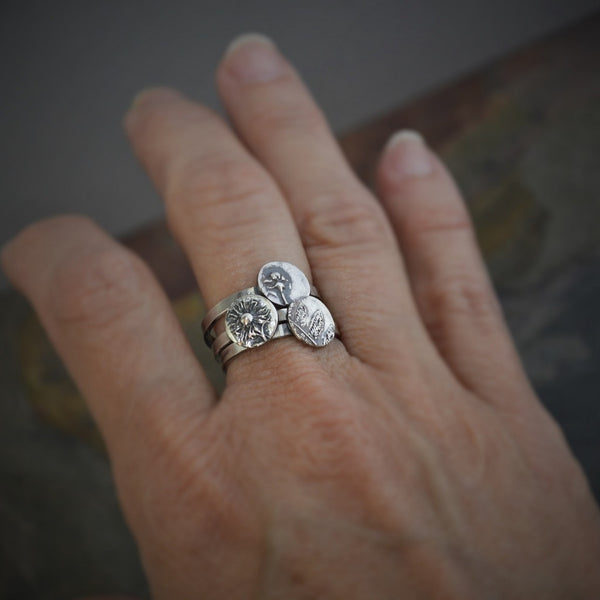 Stackable Ring, Sterling Silver Whorled Milkweed in Size 7