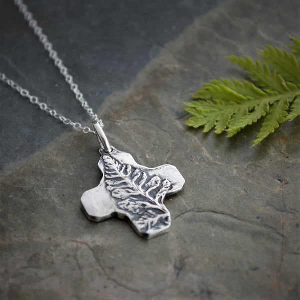 Fern Necklace, Cross Pendant in Fine Silver, Artisan Handmade - Gayle Dowell
