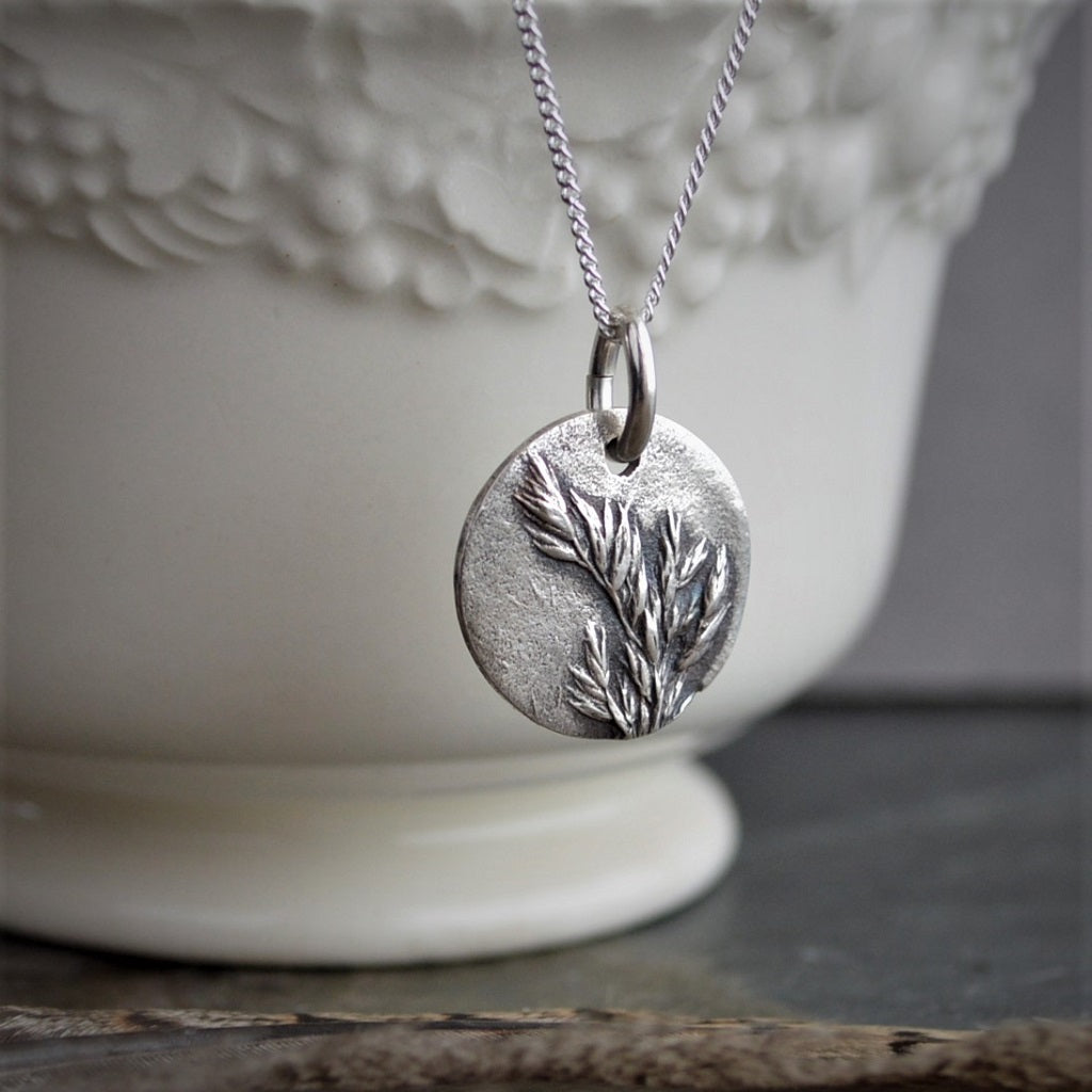 Botanical Necklace, Kentucky Bluegrass Pendant in Fine Silver, Minimalist - Gayle Dowell