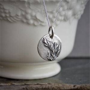 Botanical Necklace, Kentucky Bluegrass Pendant in Fine Silver, Minimalist