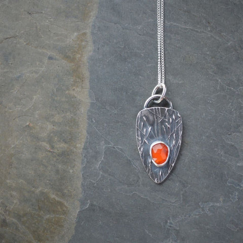 Orange Carnelian Necklace, Fine Silver Kansas Jewelry, Prairie Ticklegrass - Gayle Dowell