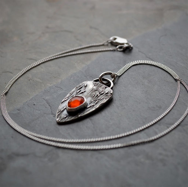 Orange Carnelian Necklace, Fine Silver Kansas Jewelry, Prairie Ticklegrass
