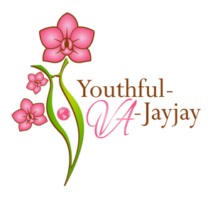 Pink flowers over a green and brown outlined feminine silhouette of a woman with a pink image of the world in the middle and the words Youthful-VA-Jayjay written in brown and pink to the right of the image.