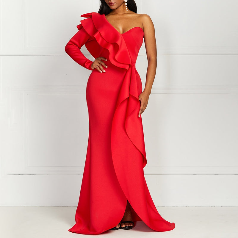 Red Maxi Dress With Ruffle Detail - One Shoulder