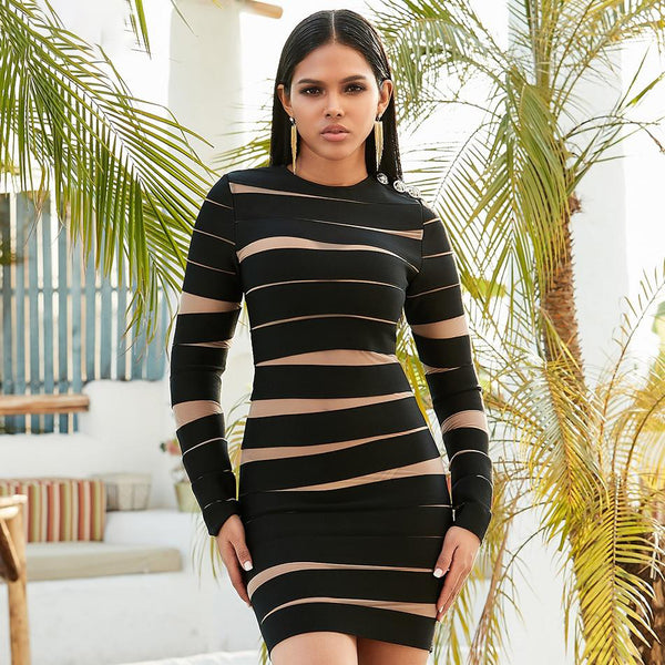 Mesh Cut Out Bandage Mini Dress - Runway Celebrity Dress