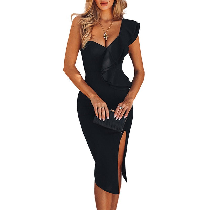 Ruffle Bandage Midi Dress - One Shoulder