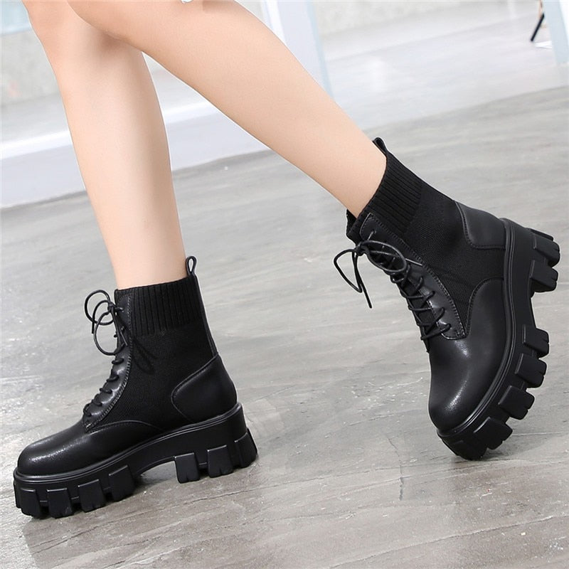 Lace Up Chunky Sole Ankle Biker Boots