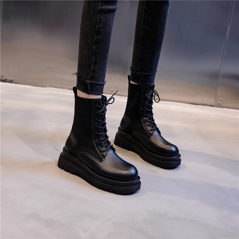Lace Up Chunky Platform Boots