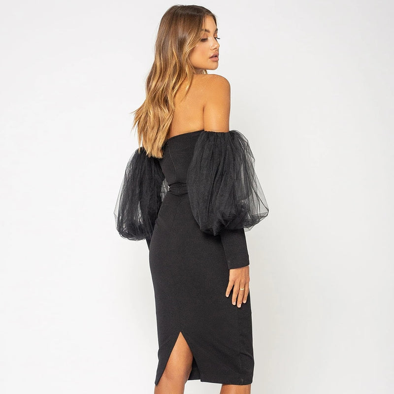 Off Shoulder Bandage Mini Dress - Mesh Puff Sleeve