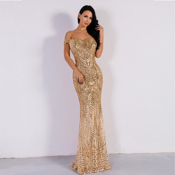 Sequins Bodycon Maxi Dress - Mermaid Style