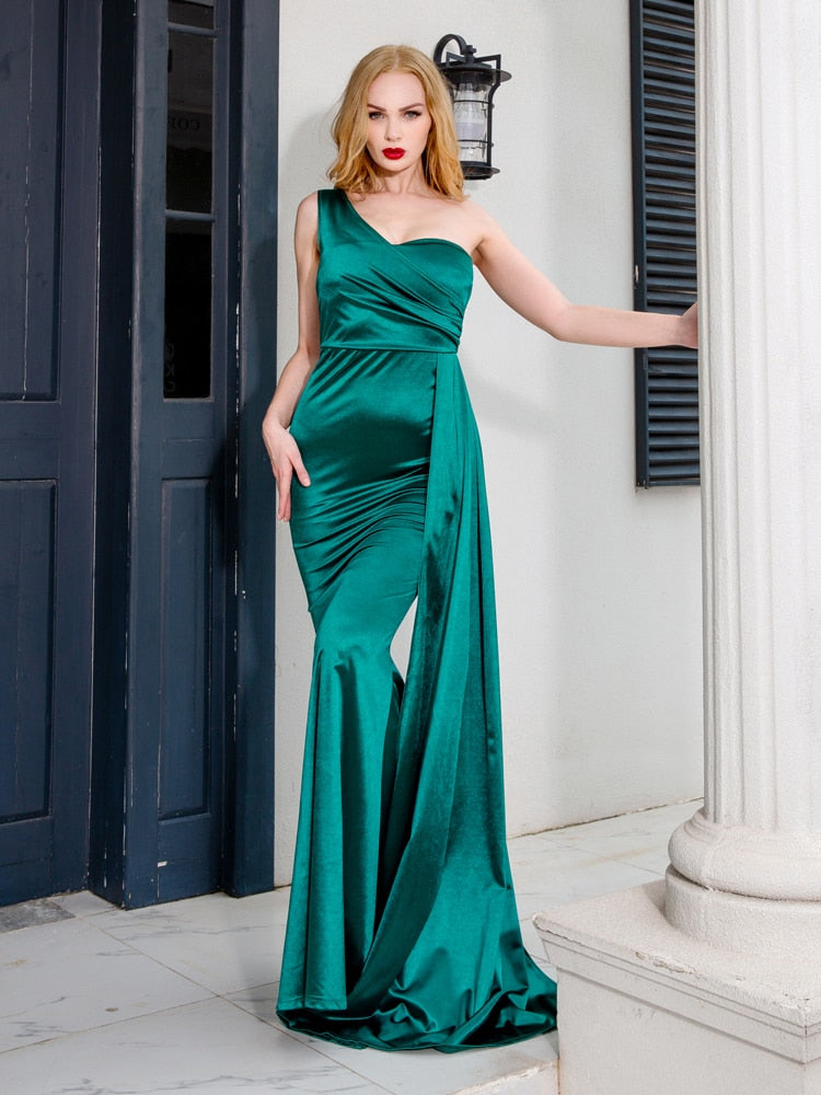 Satin Maxi Dress With Ribbon Draped - One Shoulder