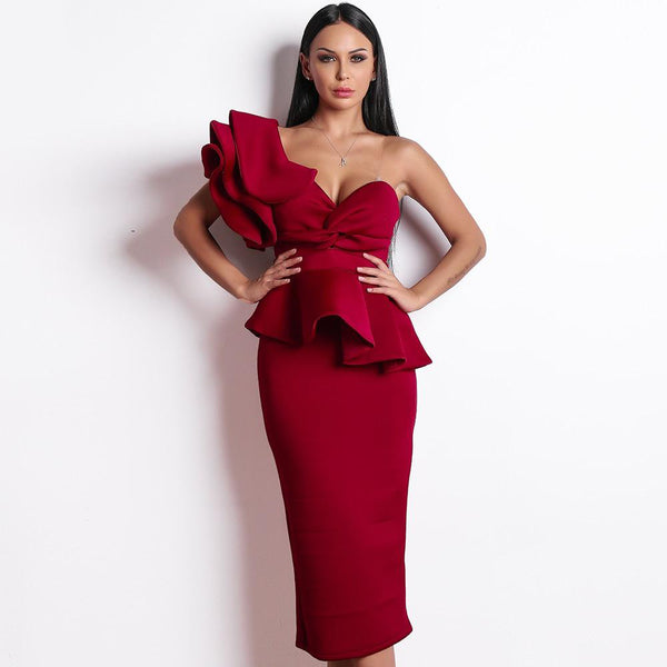 Elegant Ruffles Bandage Midi Dress - One Shoulder
