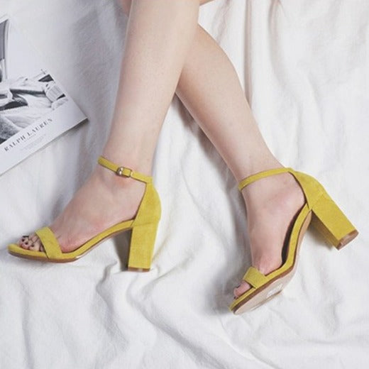 Suede Ankle Strap High Heels