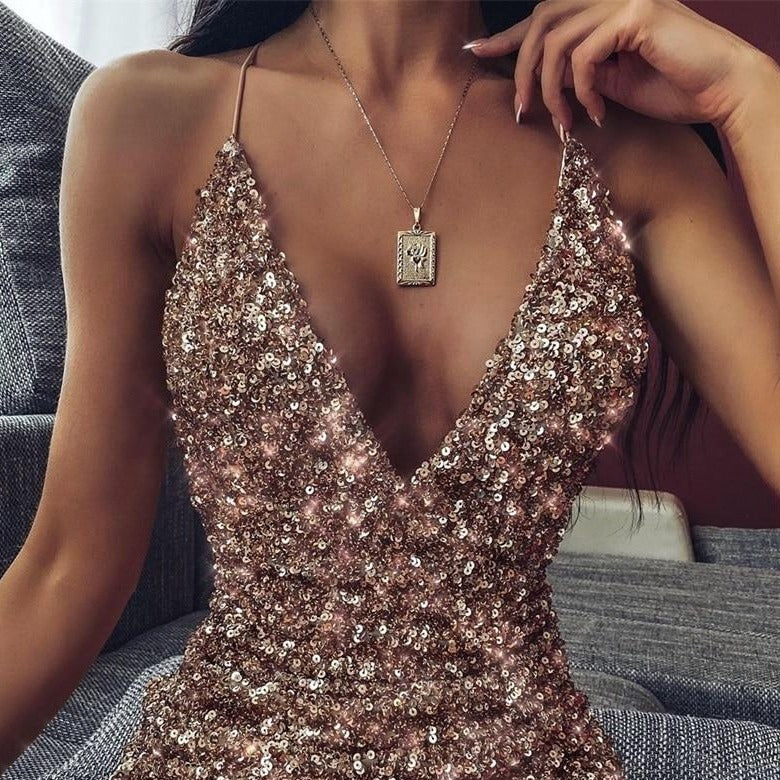 Sequin Glitter Wrap Mini Dress - Spaghetti Strap