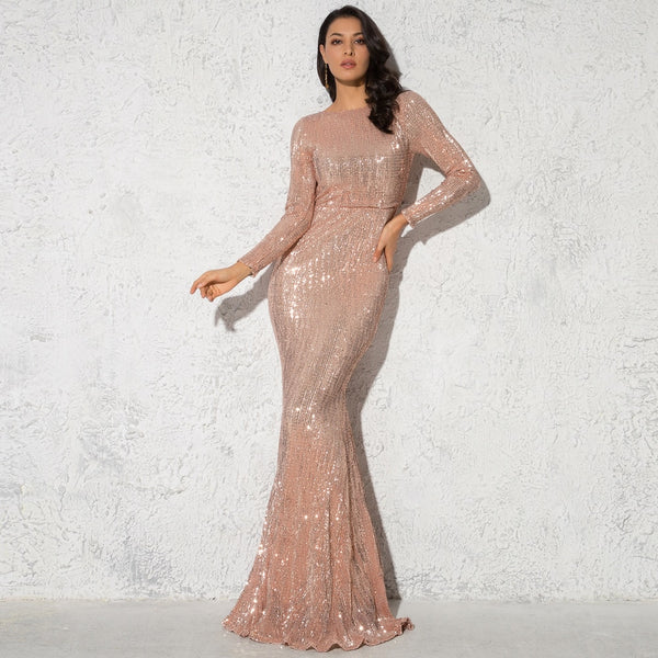 Sequin Floor Length Maxi Dress - Long Sleeve