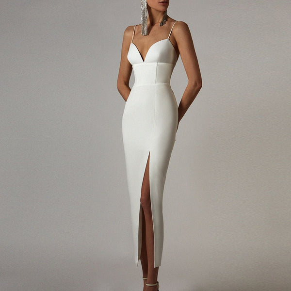 High Slit Bodycon Maxi Dress - Sexy V-Neck - Spaghetti Straps