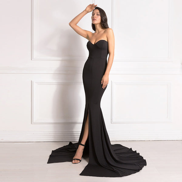 Front Slit Long Maxi Dress - Sexy Strapless Gown