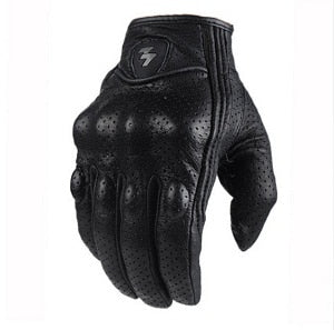 Perforated Motorcycle Leather Gloves