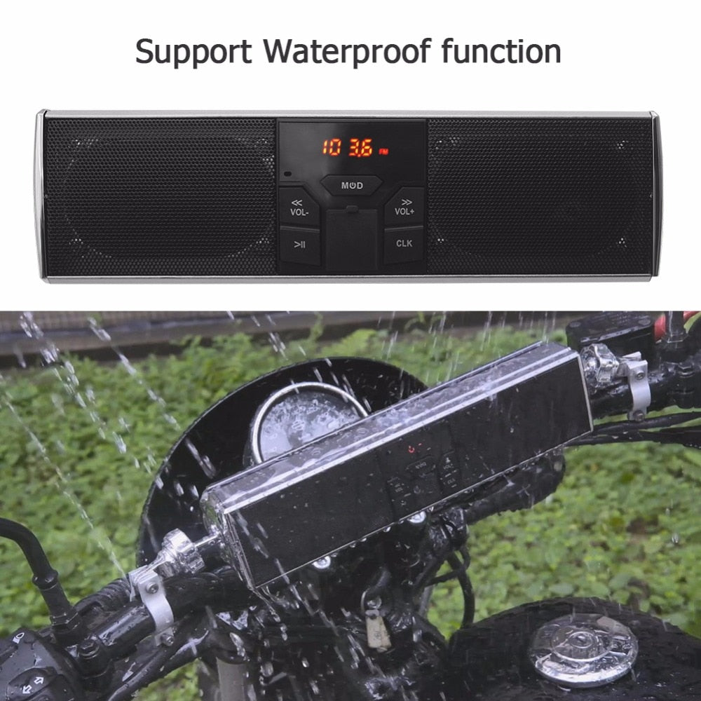 Waterproof Motorcycle Bluetooth Audio Sound System LED Display