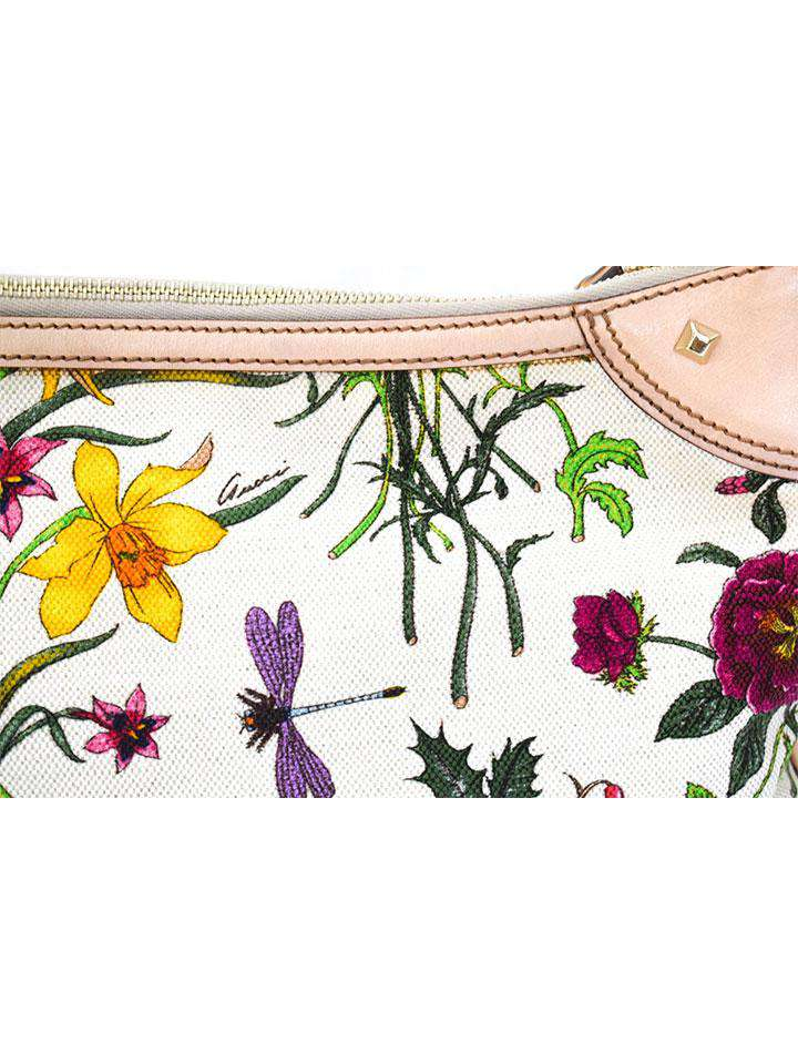 Gucci Floral Canvas Print w Hobo Bamboo Bag