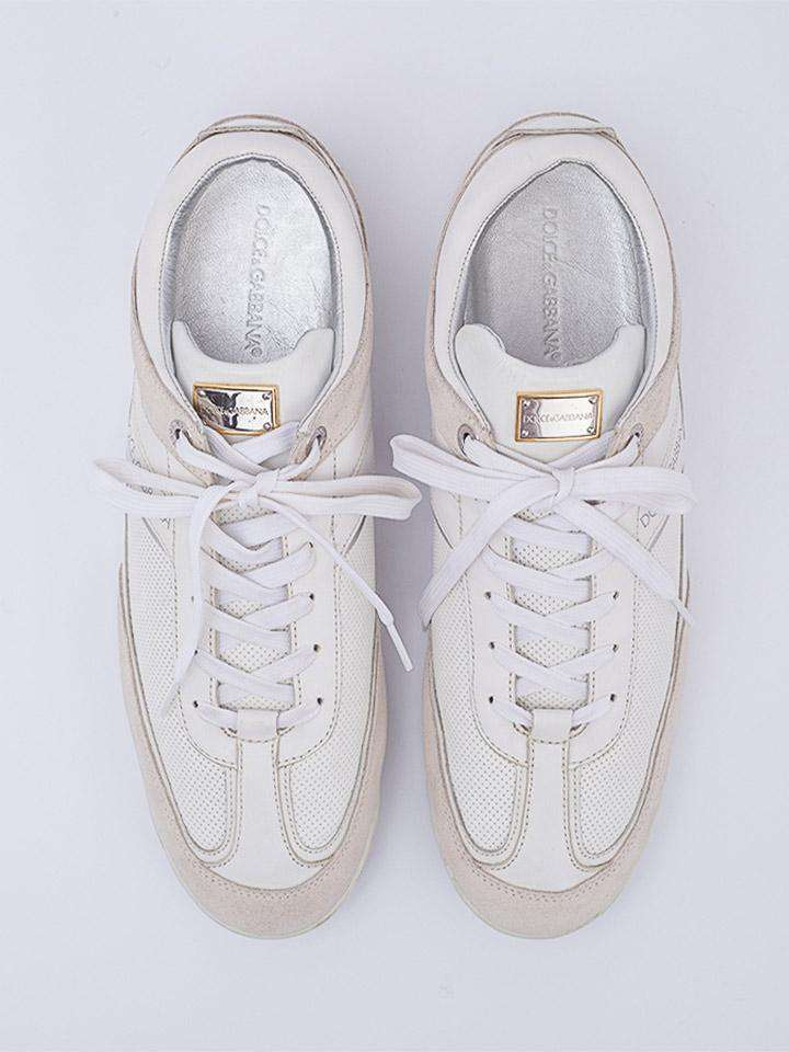 Dolce and Gabbana White Lace Low Top Sneakers