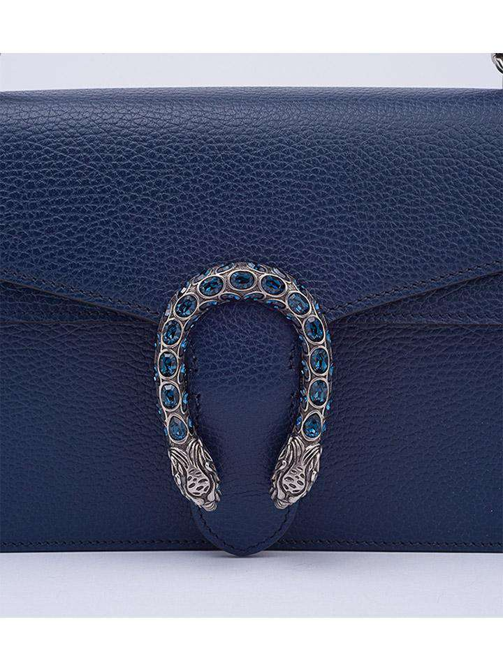 Gucci Navy Leather Small Dionysus Shoulder Bag