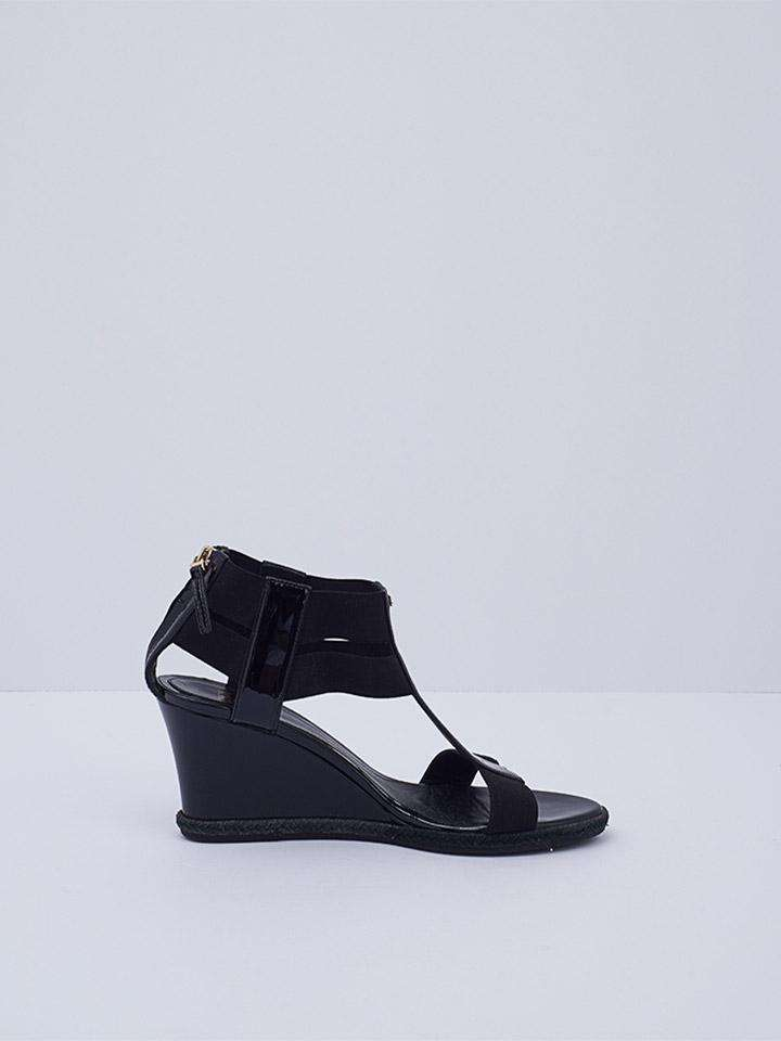 Fendi  Patent Leather T-Strap Wedge