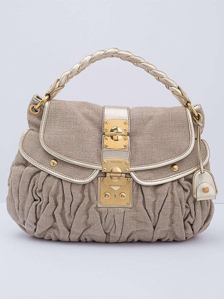 Miu Miu Beige Canvas Coffer Hobo Bag
