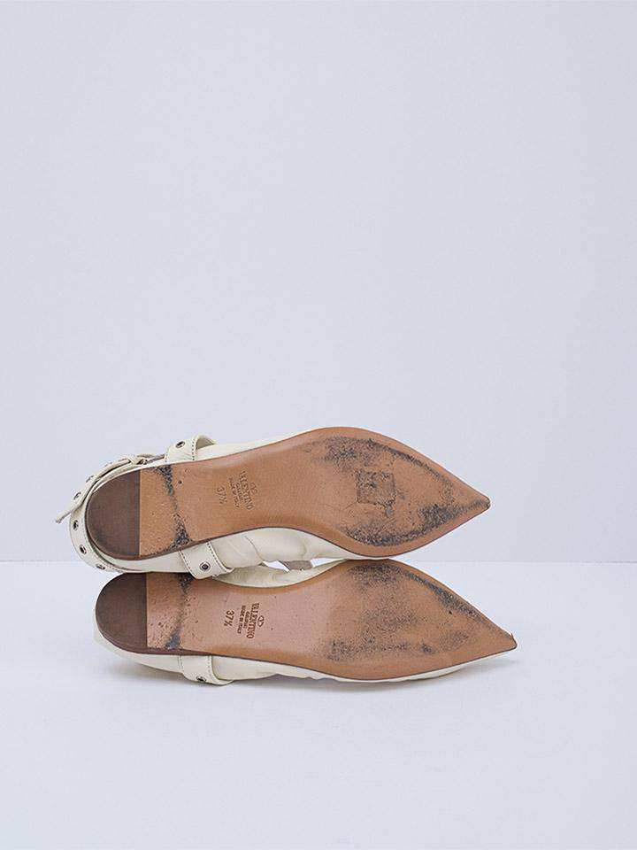 Valentino Love Latch Ankle Strap Scrunch Ballet Flats