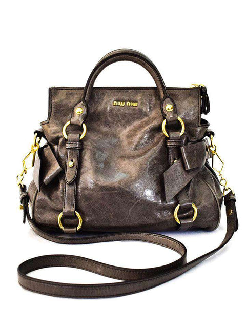Vitello Lux Leather Bow Top Handle Bag