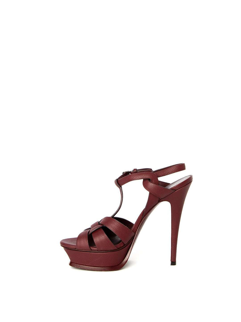 YSL Tribute Maroon Platform Sandals
