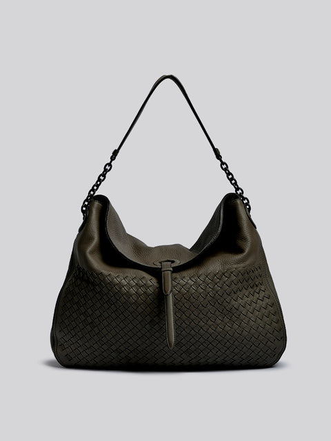 Bottega Veneta  Intrecciato-Trimmed Leather Shoulder Bag