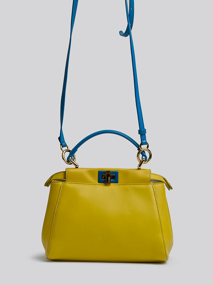 Fendi Leather Mini Peekaboo Top Handle Bag