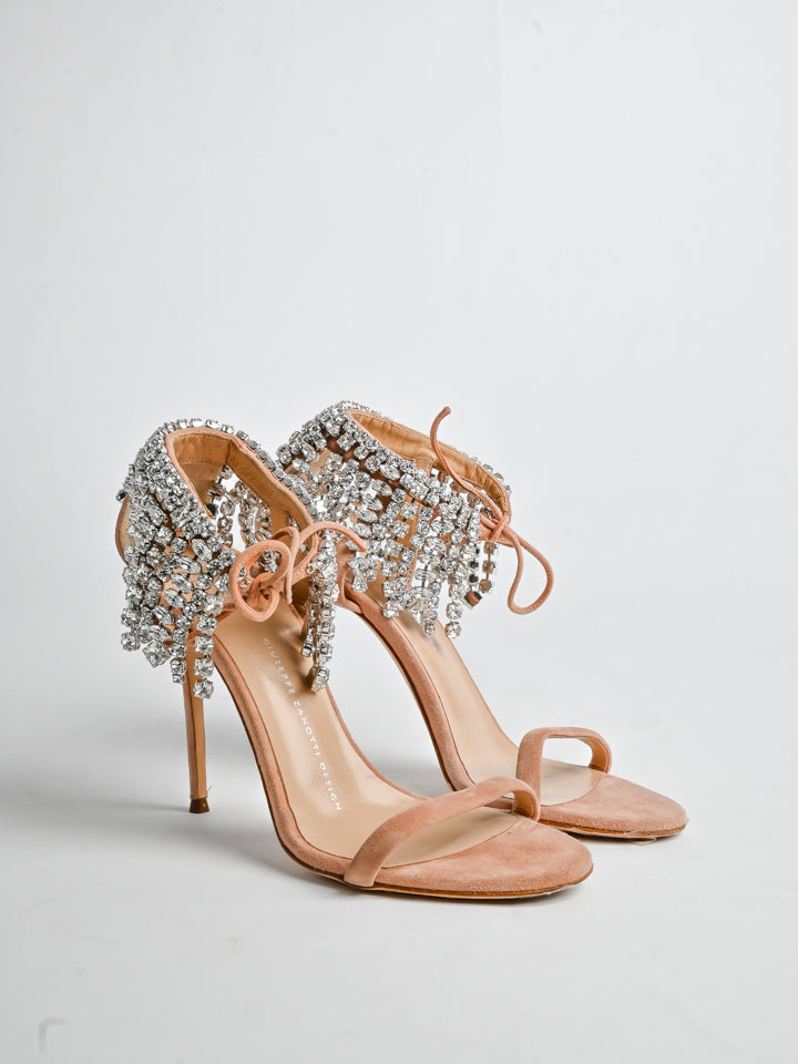 Giuseppe Zanotti Pink Nude Suede Carrie Crystal Embellished Sandals