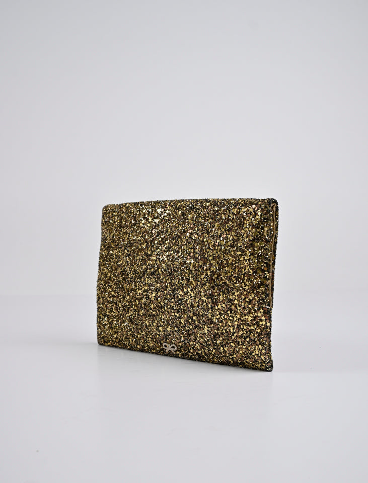 Anya Hindmarch Metallic Gold Glitter Valorie Clutch