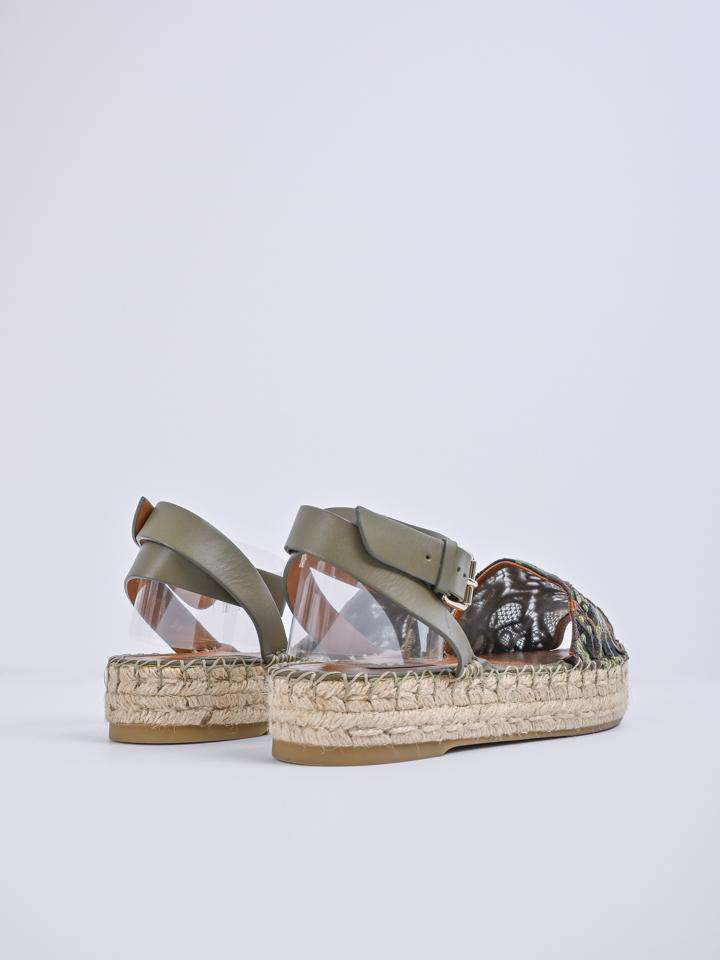 Valentino Embroidered And Leather Ankle Strap Espadrille